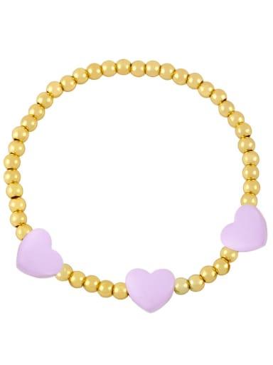 purple Brass Enamel Heart Trend Beaded Bracelet