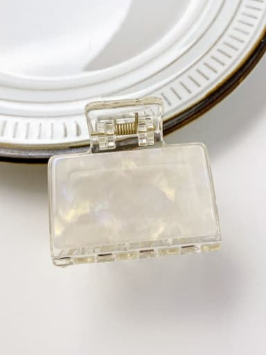 Colorful white 5cm Cellulose Acetate Minimalist Square Alloy Multi Color Jaw Hair Claw