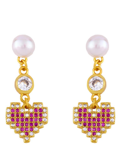 Peach heart Brass Cubic Zirconia Heart Bohemia Huggie Earring