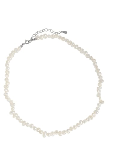 Xa427 [white gold] 925 Sterling Silver Freshwater Pearl Geometric Bohemia Necklace