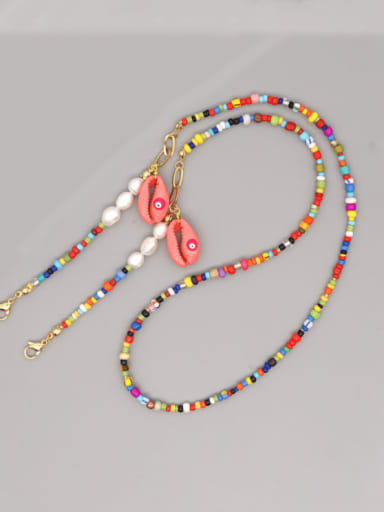 Stainless steel Imitation Pearl Multi Color Enamel Letter Bohemia Hand-woven Necklace