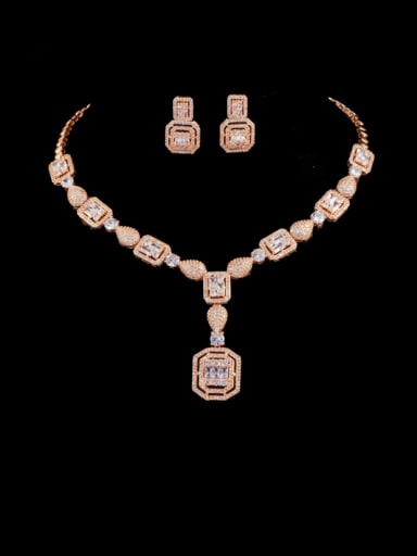 Rose Gold set Brass Cubic Zirconia  Luxury Geometric Earring and Necklace Set