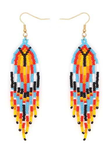 Multi Color Miyuki beads Tassel Bohemia   Pure Handmade Earring