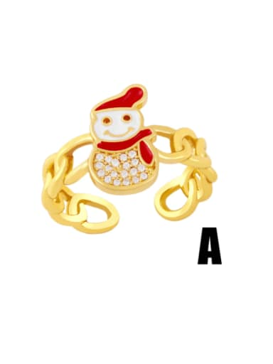 white Brass Enamel Cubic Zirconia Icon snowman Trend Band Ring