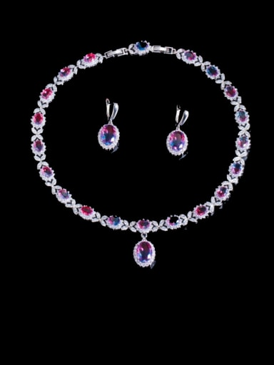 Brass Cubic Zirconia Luxury Oval  Earring and Necklace Set