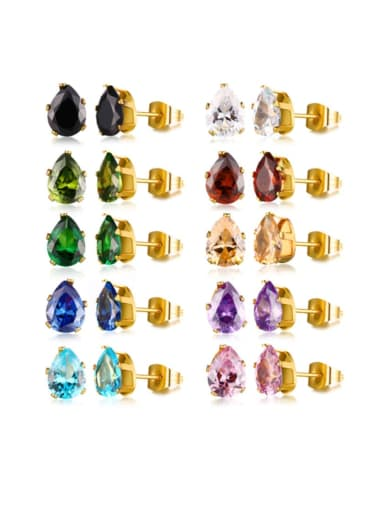 Stainless steel Glass Stone Water Drop Vintage Stud Earring