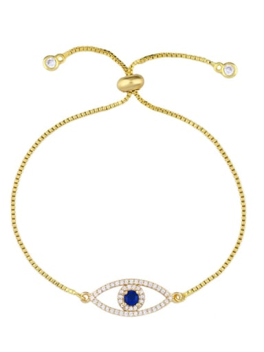 golden Brass Cubic Zirconia Evil Eye Vintage Adjustable Bracelet