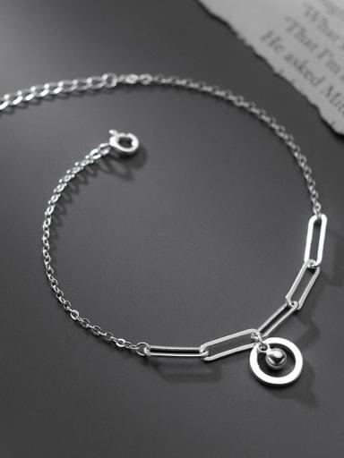 925 Sterling Silver Hollow Geometric Chain Minimalist Link Bracelet