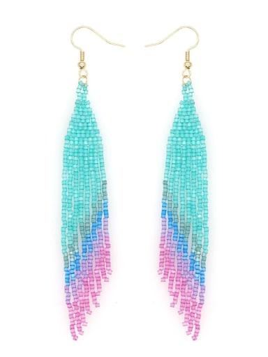 Stainless steel Miyuki beads Tassel Bohemia   Pure handmade Threader Earring