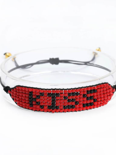 MG B180211E Stainless steel Bead Multi Color Geometric Bohemia Handmade Weave Bracelet