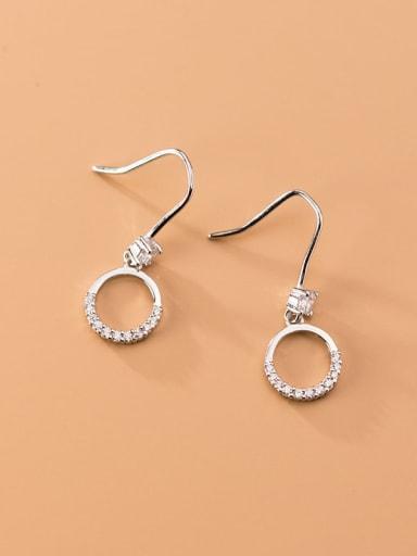 925 Sterling Silver Cubic Zirconia Geometric Minimalist Hook Earring