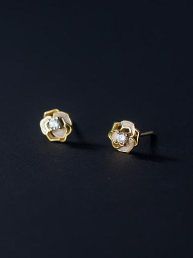 925 Sterling Silver Cubic Zirconia Enamel Flower Cute Stud Earring