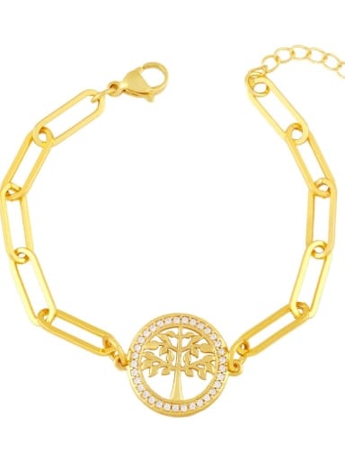 Brass Cubic Zirconia Star Vintage Link Bracelet