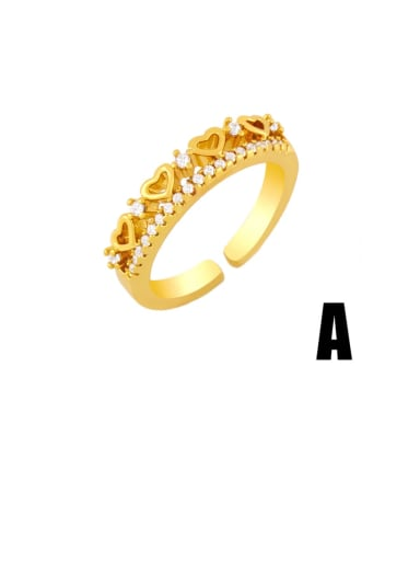 Brass Cubic Zirconia Heart Hip Hop Band Ring