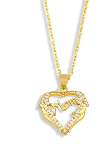C Brass Cubic ZirconiaMinimalist  Letter Heart Pendant Necklace