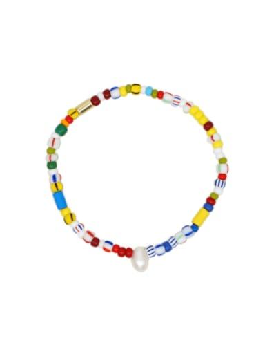 Freshwater Pearl Multi Color Ceramic Oval Minimalist Stretch Bracelet