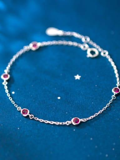 925 Sterling Silver Round Cubic Zirconia Multi Color Bracelet