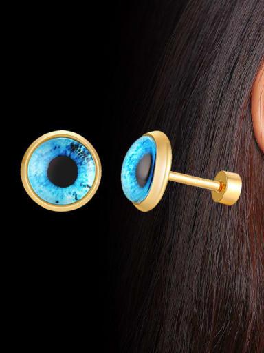 Titanium Steel Turquoise Round Vintage Stud Earring