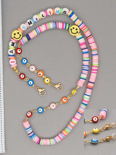 RT N200007A Stainless steel Multi Color Polymer Clay Smiley Bohemia Beaded  Hand-woven Necklace