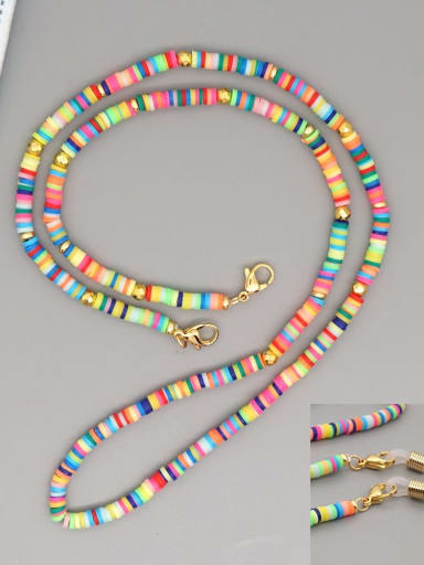 RT N200005A Stainless steel Bead Multi Color Polymer Clay Round Bohemia Hand-woven Necklace
