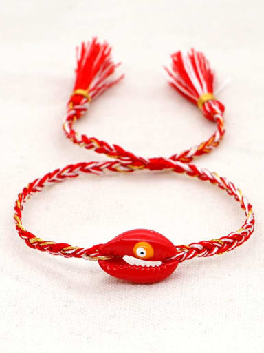 B B200060A Multi Color Polymer Clay Irregular Bohemia Handmade Weave Bracelet
