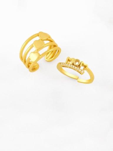 Brass Cubic Zirconia Letter Vintage Midi Ring