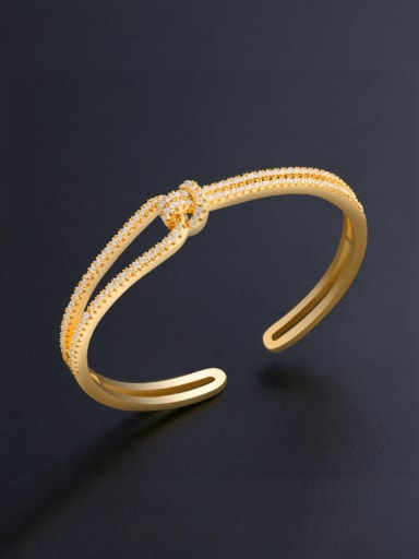 golden Brass Cubic Zirconia Geometric Minimalist Cuff Bangle