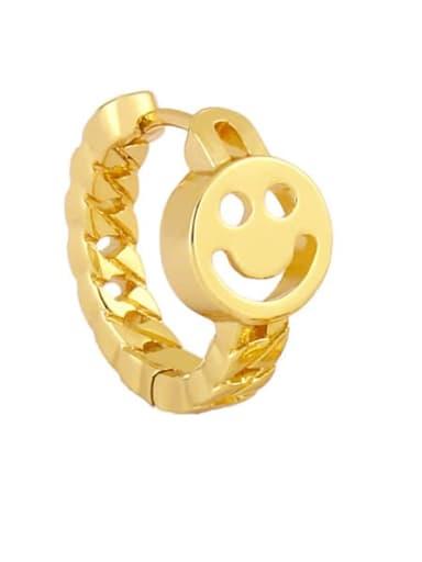Brass Smiley Vintage Huggie Earring