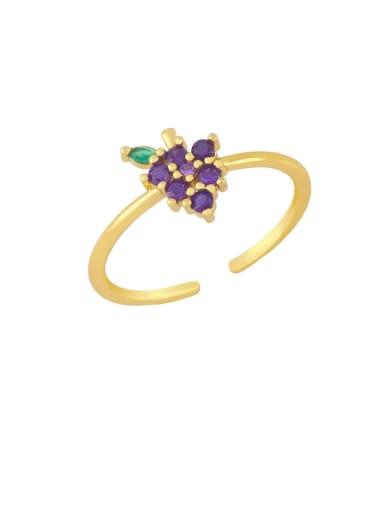 Grape Brass Cubic Zirconia Friut Minimalist Band Ring
