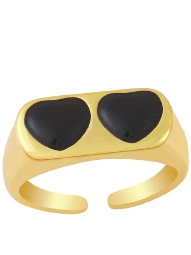 black Brass Enamel Heart Minimalist Band Ring
