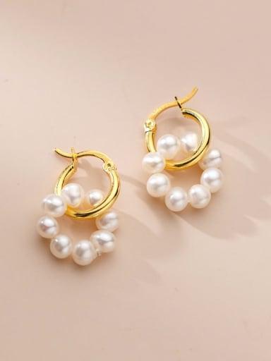 925 Sterling Silver Freshwater Pearl Geometric Minimalist Huggie Earring