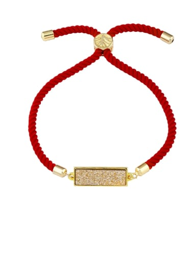 Red rope gold Red rope Geometric Minimalist Adjustable Bracelet