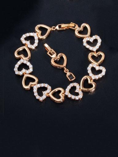 gold Copper Cubic Zirconia Heart Dainty Bracelet