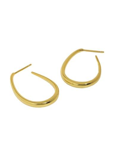 18K gold [with pure Tremella plug] 925 Sterling Silver Irregular Minimalist Drop Earring