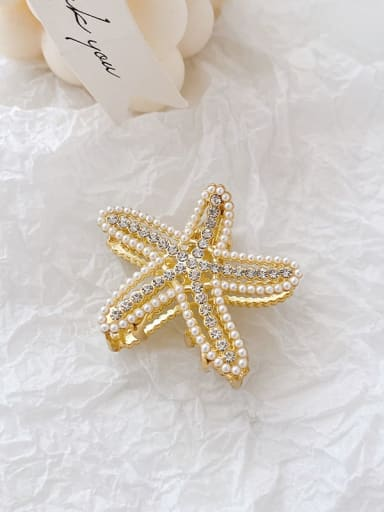 Starfish 4.8cm Alloy Imitation Pearl Minimalist Geometric  Jaw Hair Claw