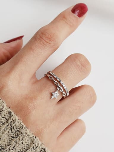 925 Sterling Silver Cubic Zirconia  Micro Set Star  Minimalist Stackable Ring