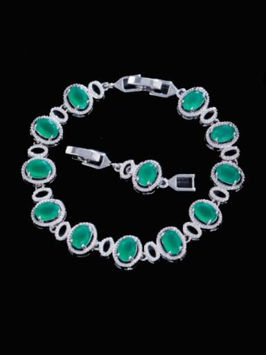 green Brass Cubic Zirconia Multi Color Oval Luxury Bracelet