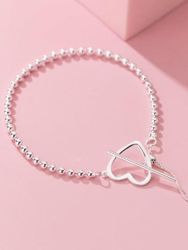 925 Sterling Silver Bead Heart Minimalist Beaded Bracelet