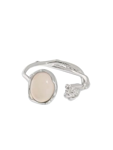 Platinum [14 adjustable] 925 Sterling Silver Agate Irregular Vintage Band Ring
