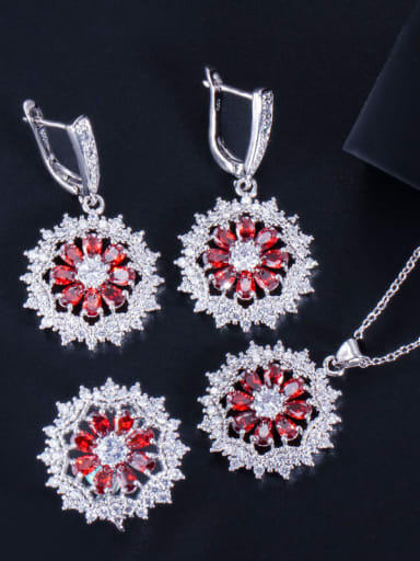 Red ring size 6 Dainty Flower Brass Cubic Zirconia Earring Ring and Necklace Set