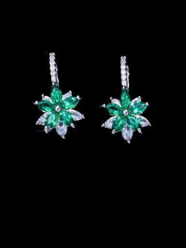 green Brass Cubic Zirconia Flower Luxury Huggie Earring
