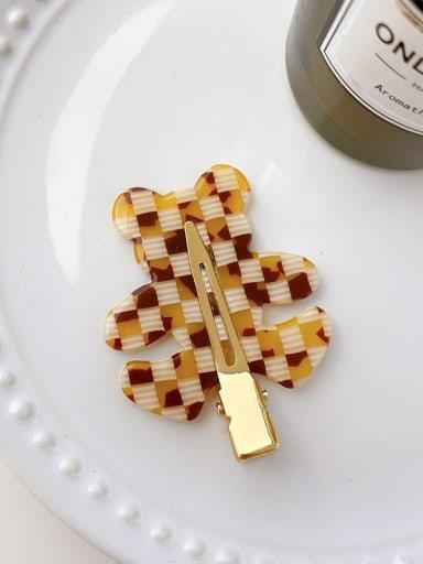 Checkered coffee 5.5cm Cellulose Acetate Minimalist Bear Alloy Multi Color Hair Barrette