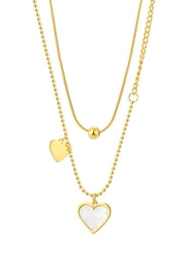 2038 gold necklace Titanium Steel Shell Heart Minimalist Multi Strand Necklace