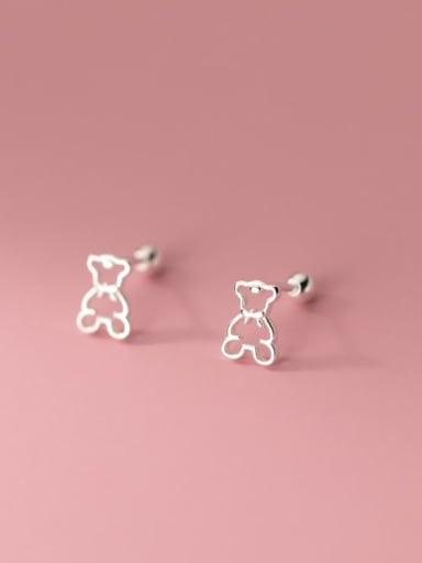 925 Sterling Silver Hollow Bear Minimalist Stud Earring