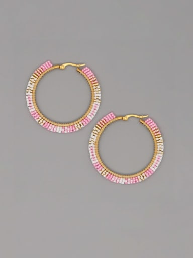 MI E200094A Stainless Steel Multi Color Miyuki Beads Geometric Bohemia Pure Handmade Earring