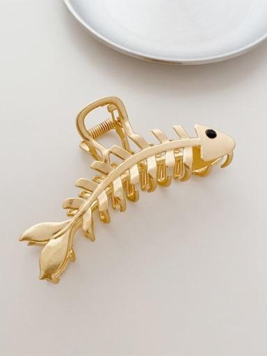 Gold fishbone 10cm Alloy Minimalist Fishbone  Jaw Hair Claw