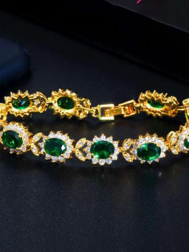 green Copper Cubic Zirconia Flower Luxury Bracelet