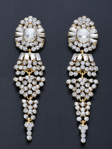 golden Alloy Cubic Zirconia Tassel Vintage Drop Earring