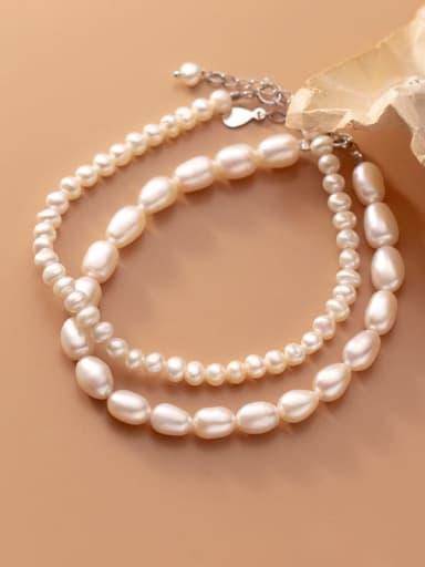 925 Sterling Silver Freshwater Pearl Oval Minimalist Beaded Bracelet