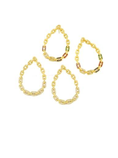 Brass Cubic Zirconia Hollow Water Drop Hip Hop Chandelier Earring